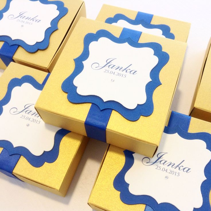 Chocolate favours - gold and royal blue