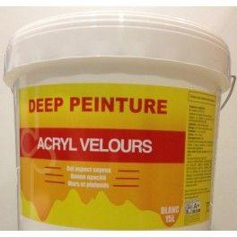 Deep Peinture Acryl Velours 15L Peinture velours ,aplicable sur supports secs sains et propres. Application : brosse ,rouleau,pistolet . Rendements : 6 à 8 m2 au litre . Sechage : 1 h ,recouvrable apres 8 h.
