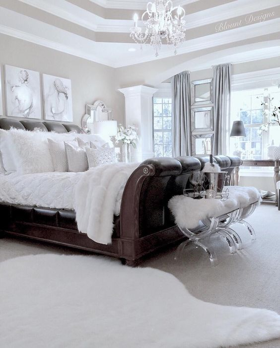 White bedroom with chandelier ~ #bedrooms