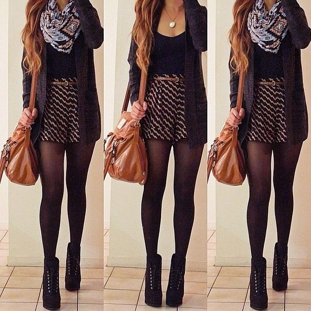 fall outfit. skirt. tights, heels. scarf. cardigan