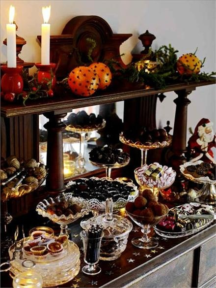 Swedish 'julbord'...This could be my moms house. She is Danish, but its close.