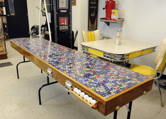 """Portable """"Beer Pong"""" Table built from reclaimed wood and beer caps!"""