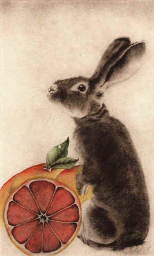 """Lapin aux Pamplemousse   (Rabbit with Grapefruit)   8"""" x 13"""" Hand watercolored Etching by C. C. Barton Fine Art."""