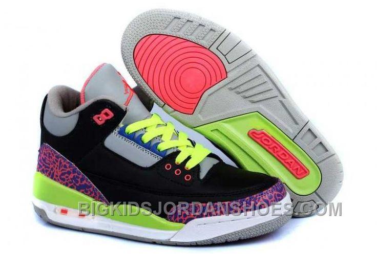 http://www.bigkidsjordanshoes.com/hot-nike-air-jordan-3-kids-2014-black-grey-pink-green-shoes.html HOT NIKE AIR JORDAN 3 KIDS 2014 BLACK GREY PINK GREEN SHOES Only $84.60 , Free Shipping!