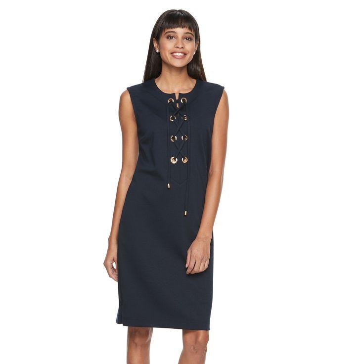 Women's Sharagano Lace-Up Ponte Shirtdress, Size: 10, Blue (Navy)