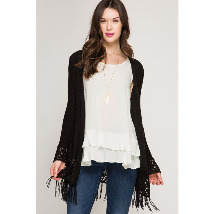 Long Flare Sleeves – Crochet Cardigan Sweater - Black