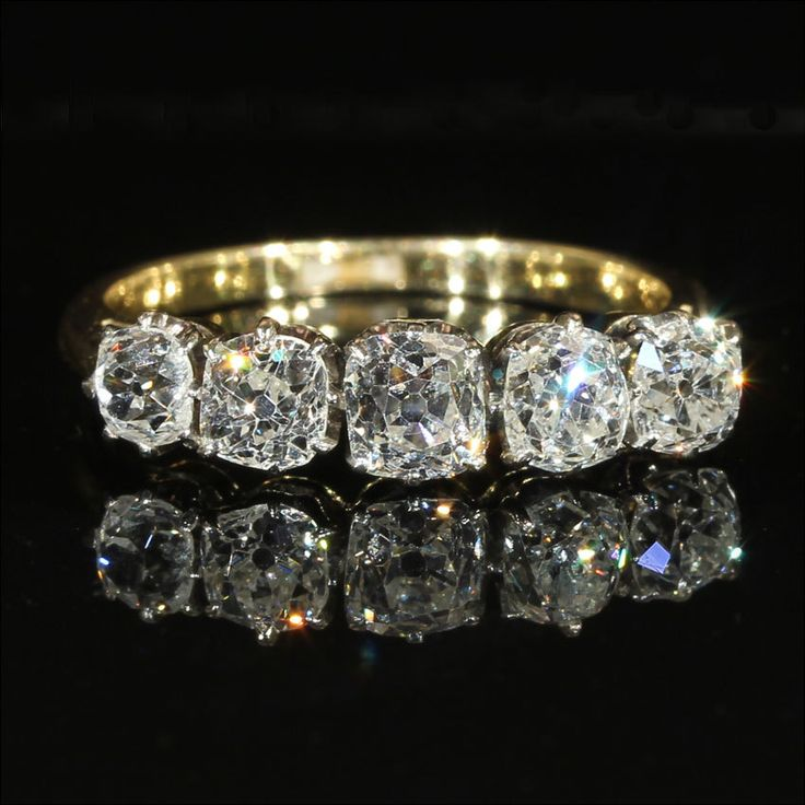 Edwardian Five Stone Diamond Ring In 18k And Platinum C