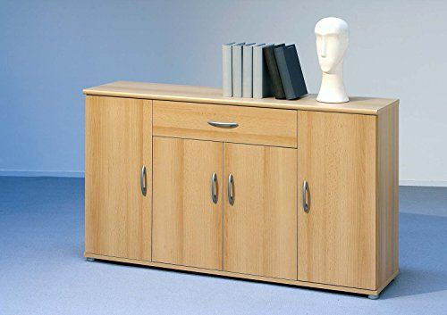 Sideboard Kommode Anrichte Mehrzweckschrank Highboard Schrank LILLY 13 in Buche mit 4 Türen, 1 Schubkasten und 3 Regalböden