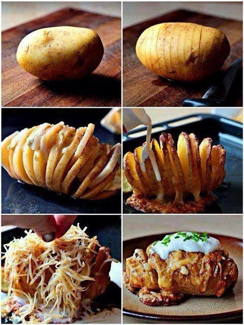 Hasselbagt kartoffel med fyld