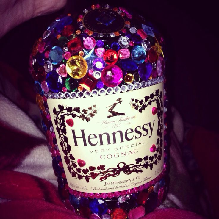 Bedazzled gallon of Hennessy