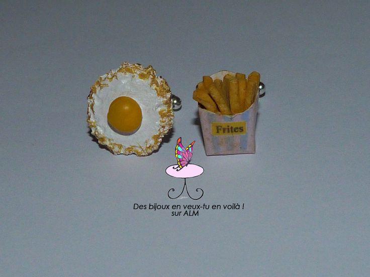 Boutons de manchette gourmands faits main. Fimo. Oeuf, frites.  Cufflinks French fries, egg.  Miniature food. Inspiration polymer clay. http://des-bijoux-en-veux-tu.alittlemarket.com www.facebook.com/Desbijouxenveuxtuenvoila