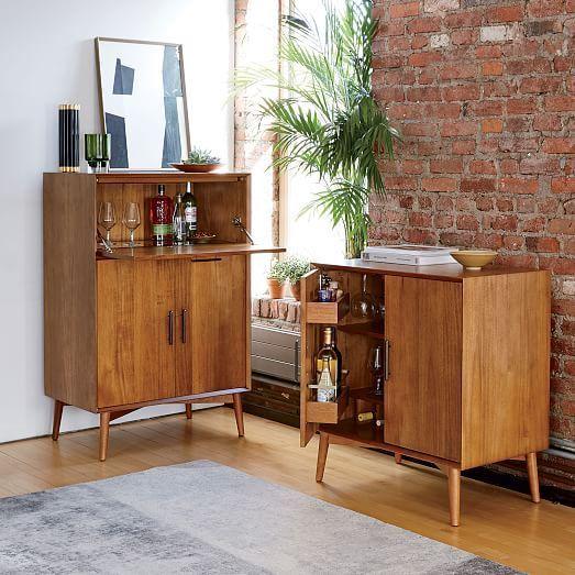 midcentury bar cabinet small