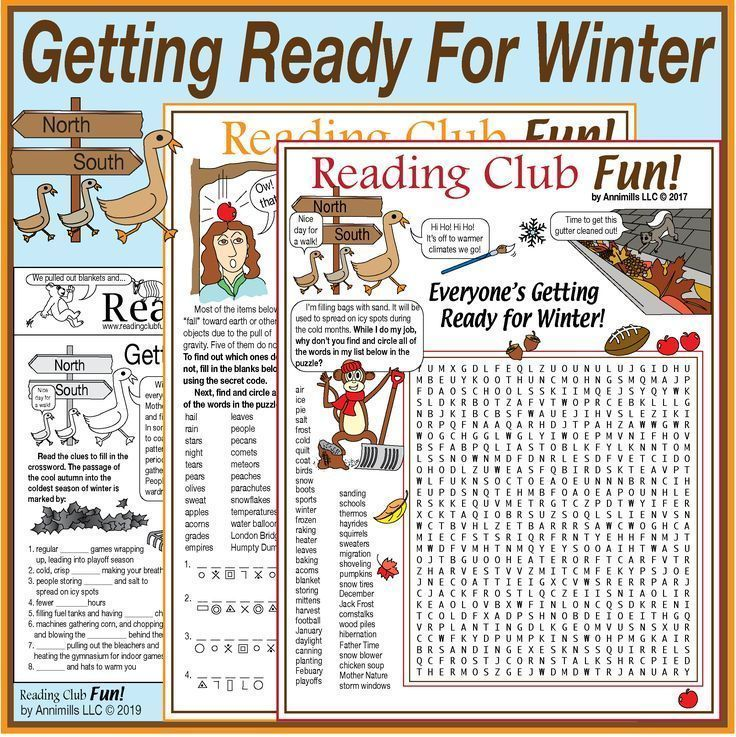 Getting Ready In The Fall For Winter Puzzle Packet Autumn