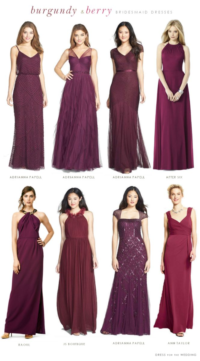 burgundy mismatched bridesmaid dresses Love the one on the top row all the way on the right :)