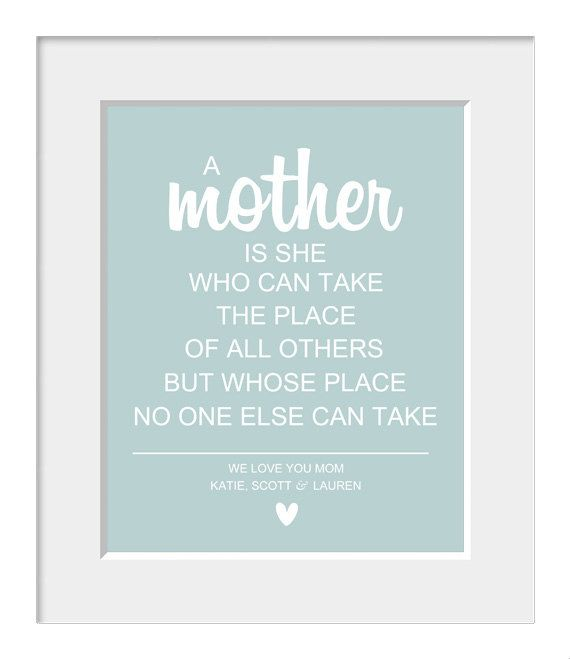 Mothers Day, Wedding Gift for Mom, Mother Mom Mum Quote Art Print -  Typography Decor - Customize -Home Decor via Etsy