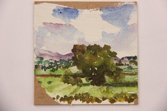 "CHRISTMAS GIFT, Watercolor Painting, Original 3.54"" x 3.54"", ""Tree"", Watercolor on wood panel"