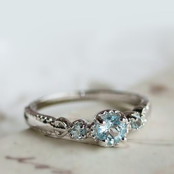 Simple Classic Blue Topaz Sterling Silver Dainty Ring for Women [100696] - $63.00 : jewelsin.com