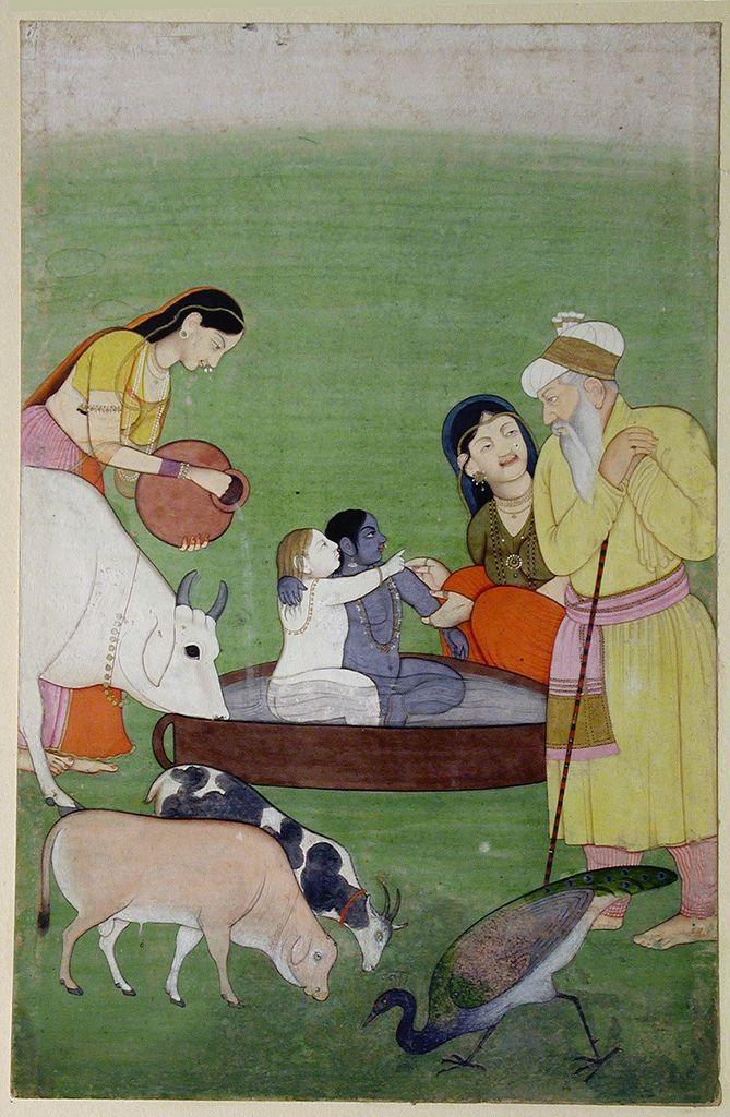Krishna and Balarama together in a bath while Nanda and Yashoda look on - ca. 1765 Edwin Binney 3rd Collection The San Diego Museum of Art
