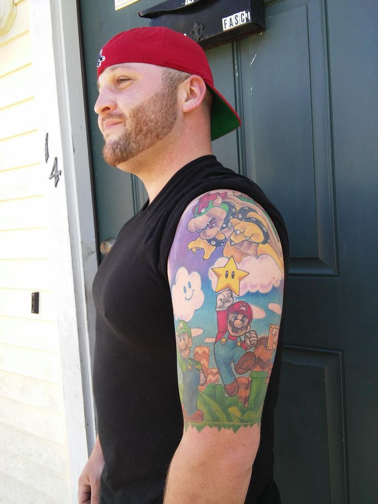 Mario, Luigi, and Bowser tattoo