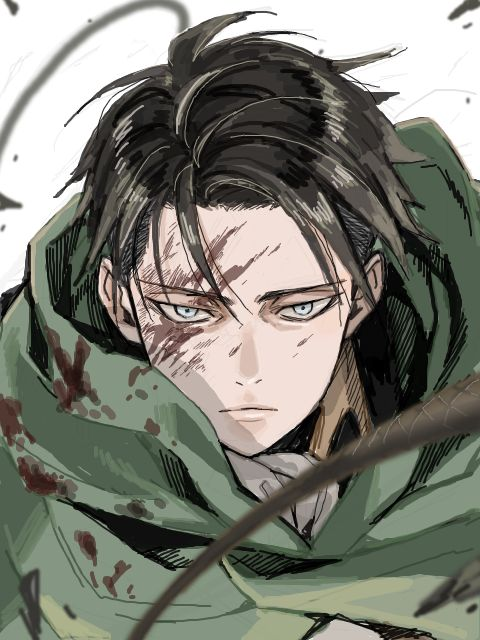 "Levi: AoT - Levi always has that look that even if people didn't know him, they'd see him and mutter ""Lord, but that guy's haunted by Titan nightmares......"" He just looks like the world died....."