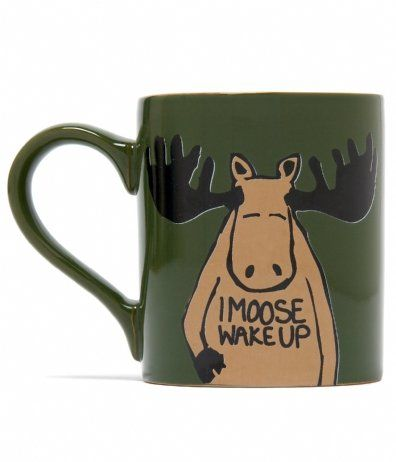 Funny, Back-to-Nature Coffee Mugs By Hatley - Featuring a moose who must wake up - I Moose Wake Up.