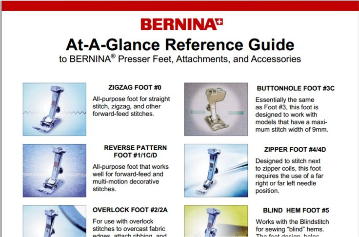 Bernina At-A-Glance Reference Guide to Bernina Presser Feet, Attachments, and Accessories