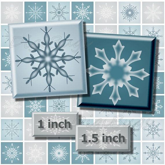 Digital Collage Sheet, White n Blue Snowflakes, 1 inch & 1.5 inch Squares, Christmas Jewelry Images, Snowflake Printables, Instant Download