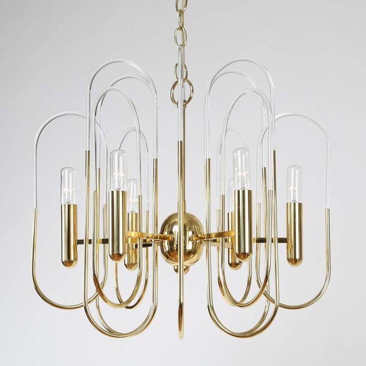 Gaetano Sciolari Brass And Glass Loop Chandelier Circa 1960s