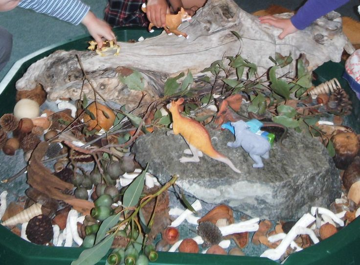 Fig 7: This is an Australian bush land display that children can play with to grow their knowledge of Australian wildlife. Children also use imaginative play while using the different animals in the display. Educators can use the spontaneous teachable moments that will arise from this activity to grow children's knowledge and expand their interest in learning about Australian wildlife.