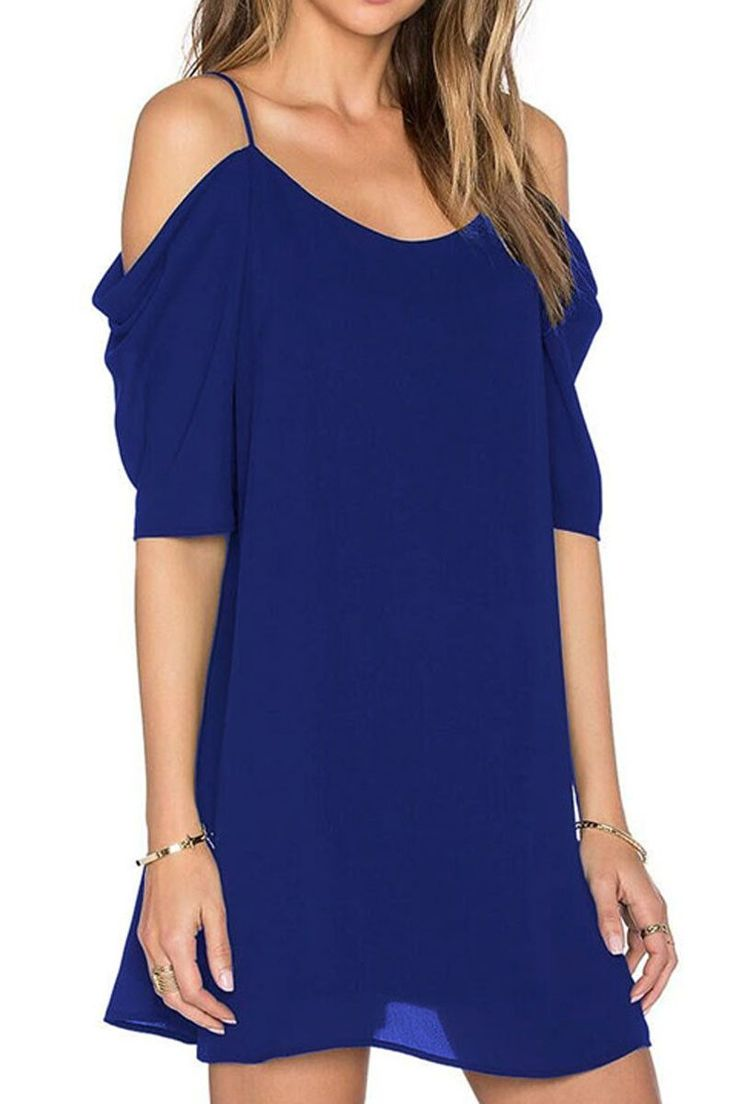 Ellady Sunny Day Cold Shoulder Chiffon Dress