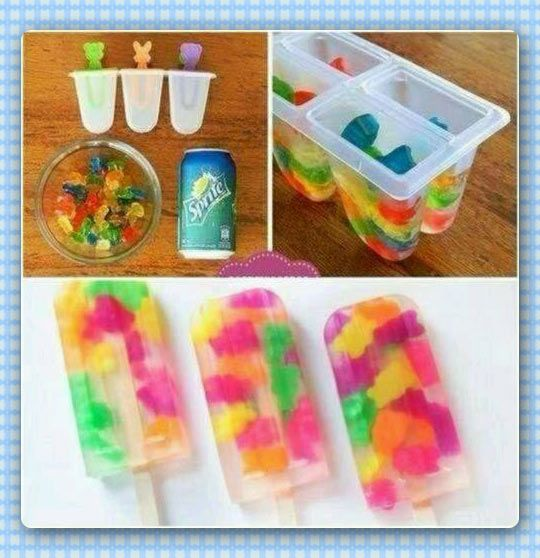 Gummy Bears & Clear Soda Popsicles // Put some gummies in molds and fill with FLAT clear soda.  Freeze for few hours. ( SODA MUST BE FLAT, NO CARBONATION! IMPORTANT!)