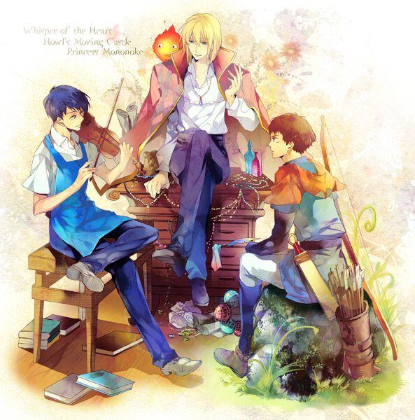 Seiji, Howl, and Ashitaka, from Whisper of the Heart, Howl's Moving Castle, and Princess Mononoke (Studio Ghibli)