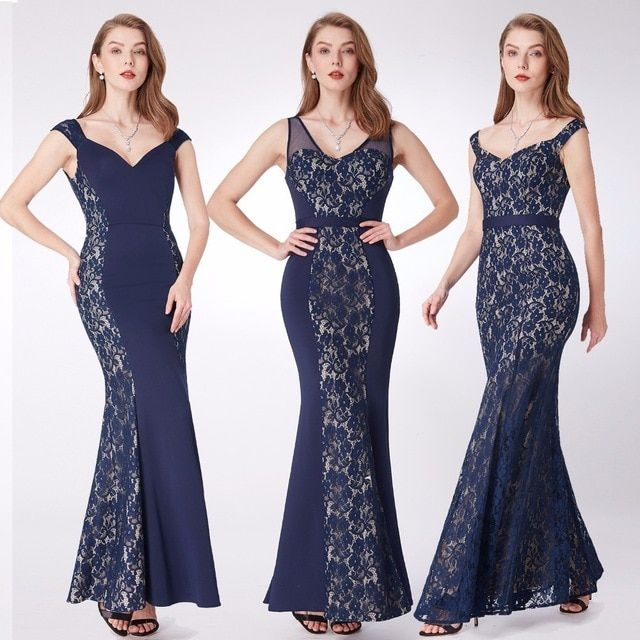 bb2dc30998d New Evening Dresses Ever Pretty EP07277 Mermaid Lace Sleeveless V-neck  Party Long Dress Navy Blue Formal Dresses robe de soiree Review