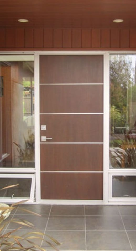Wood door with horizontal inlay