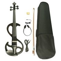 Wish | Electric Violin 4/4 Full Size W/Violin Case Bow Headphones Rosin Student Violin 4/4 Size Black S