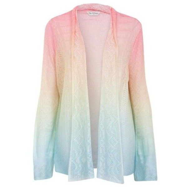 Jacket: shirt cardigan rainbow pink pastel tumblr ombre yellow blue ❤ liked on Polyvore featuring tops, cardigans, blue cardigan, pink cardigan, ombre shirt, yellow top and cardigan shirt