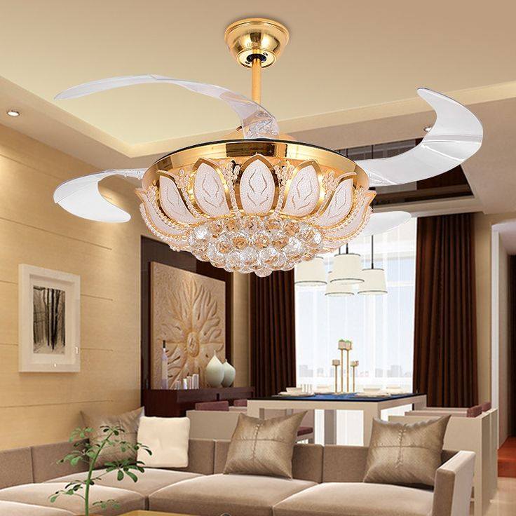 611.28$  Know more  - Modern Ceiling Fan Crystal Ventilador De Teto Remote Control With Lights Invisiable LED Folding Ceiling Fan Dining Room Lamp