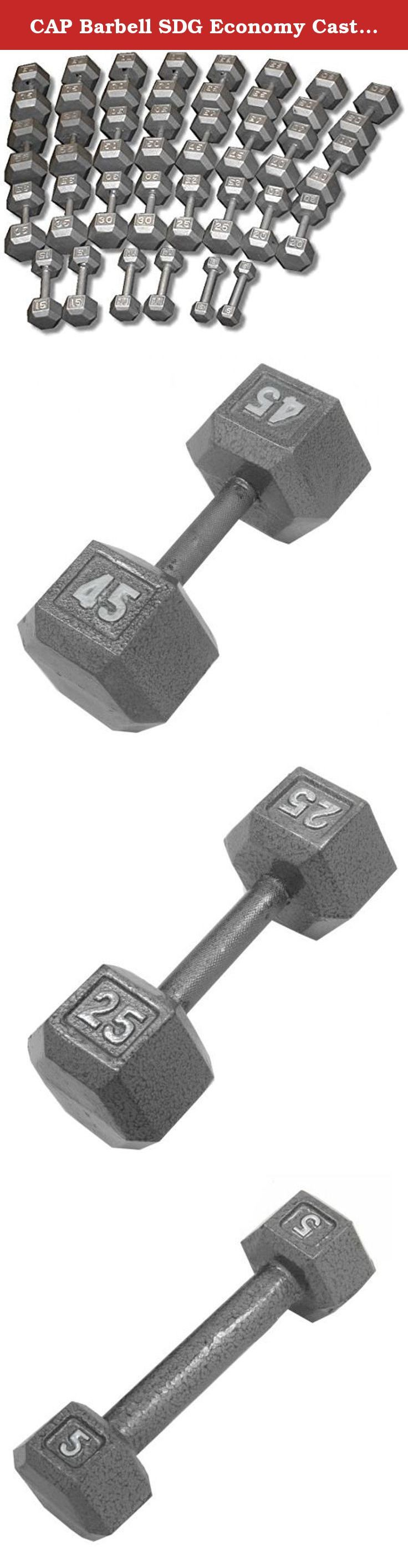CAP Barbell SDG Economy Cast Iron Hex Dumbbell Set - 5 to 75 lbs (15 pairs) - Home Gym Weight Set. Economy Cast Iron Hex Dumbbell Sets from CAP Barbell - Hex dumbbell sets are often the perfect dumbbell choice for home gym and garage gym use. They are economical and space efficient and for a lot of people that is the most important criteria when purchasing dumbbells for home use. Hexagonal dumbbell heads are non-rolling when set down on the floor or racks. Cast iron heads increase in size…