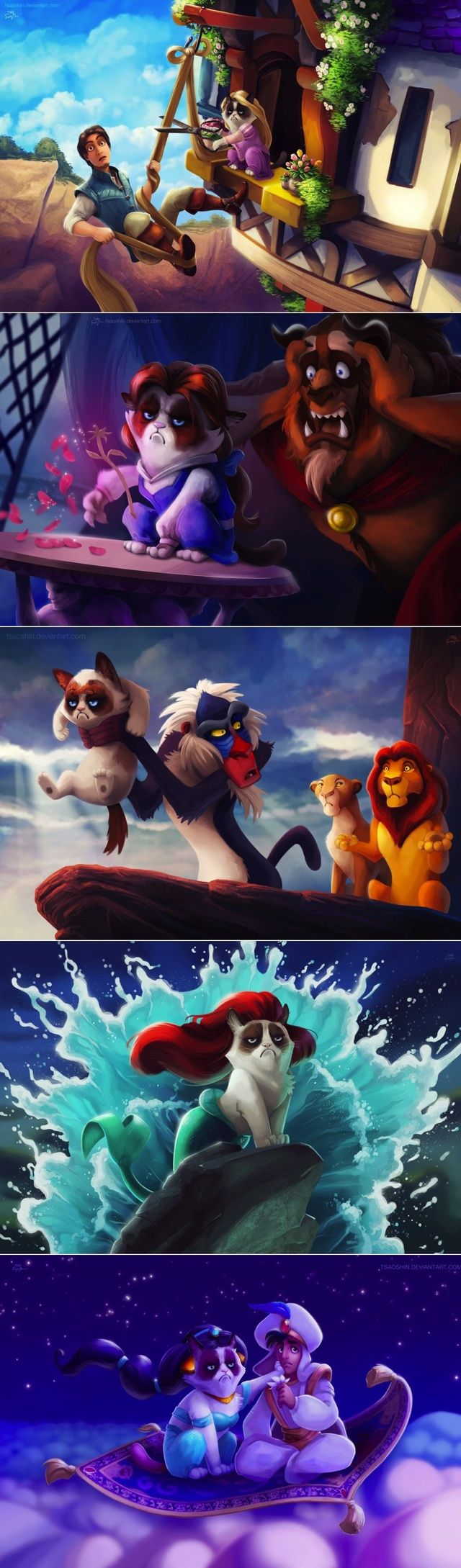 This really shouldn't be as funny as it is.. BUT Grumpy Cat replaces Disney characters. Yessss!!!!