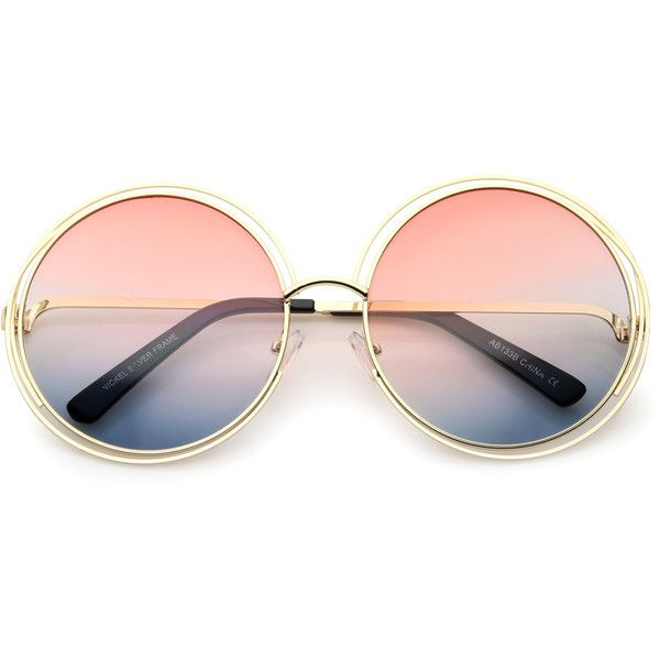 Women's Retro Hippie Oversize Round Gradient Lens Sunglasses A194 (405 CZK) ❤ liked on Polyvore featuring accessories, eyewear, sunglasses, retro glasses, round sunglasses, oversized sunglasses, round frame glasses and hippie sunglasses