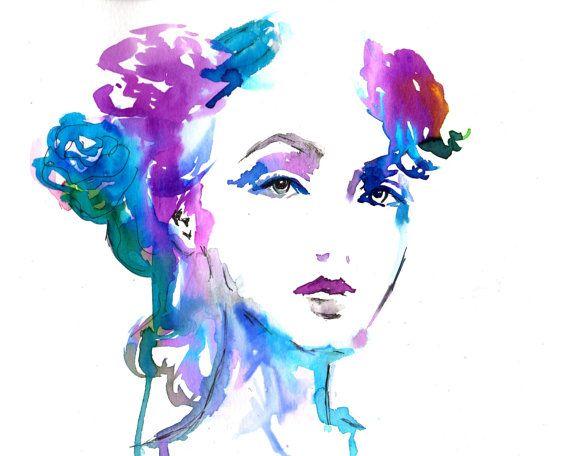 Vogue by Jessica Buhman, Print of Original Watercolor Painting, 8 x 10 Purple Pink Floral Fashion Illustration