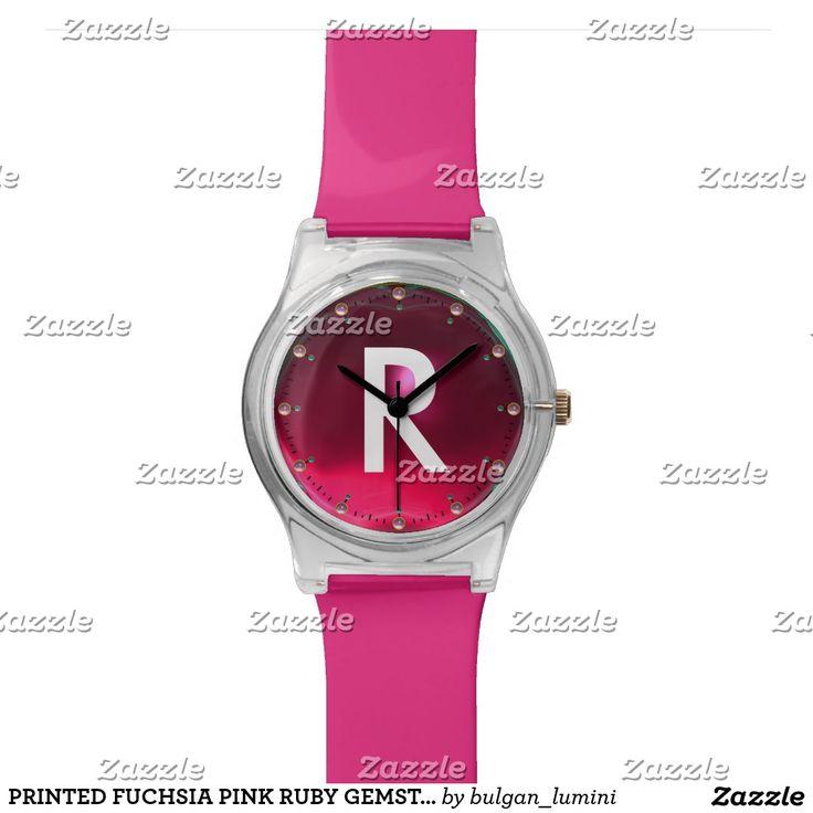 PRINTED FUCHSIA PINK RUBY GEMSTONE MONOGRAM WRISTWATCH #gemstones #fashion #watch #accessory #gems #3d #geek #tech #jewel