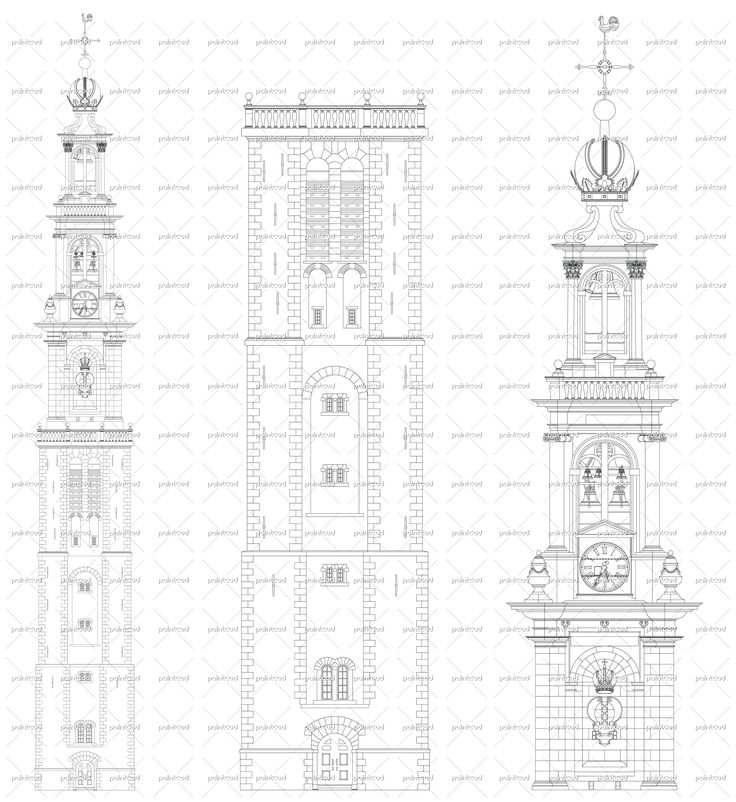 Westerkerk tower Amsterdam - drawing of the entrance facade