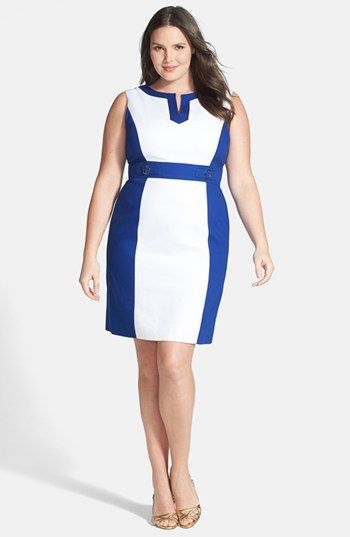 Tahari Colorblock Split V-Neck Sheath Dress #plussizedresses #plussizefashion #plussizeclothes