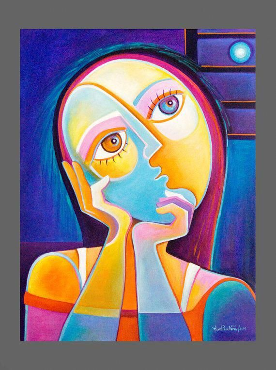 Original Painting Cubist Abstract Art Acrylic On By Marlinavera Modernabstractartface ภาพศ ลป ศ ลปะ ผมส สวย
