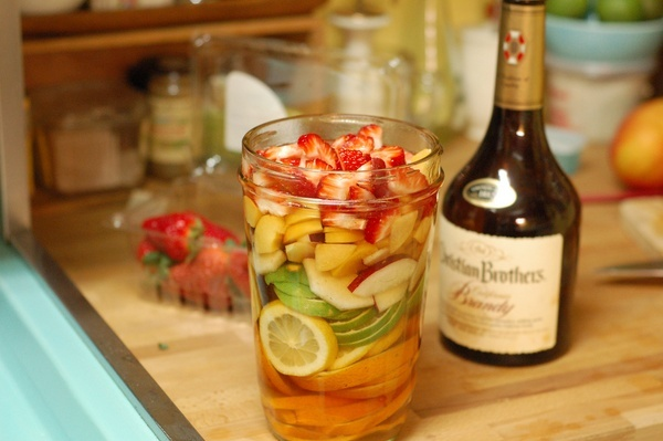 Sangria recipe with fruit soaked in brandy