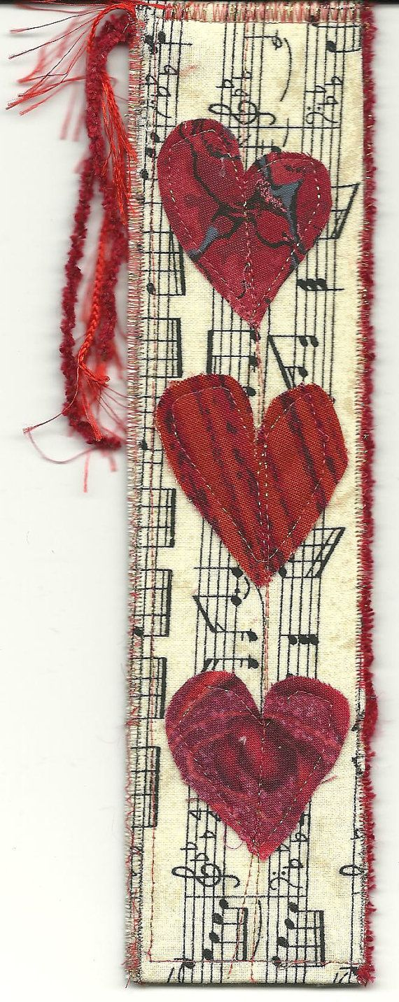 Bookmark Musical Hearts by DianasArtQuilts on Etsy, $4.00