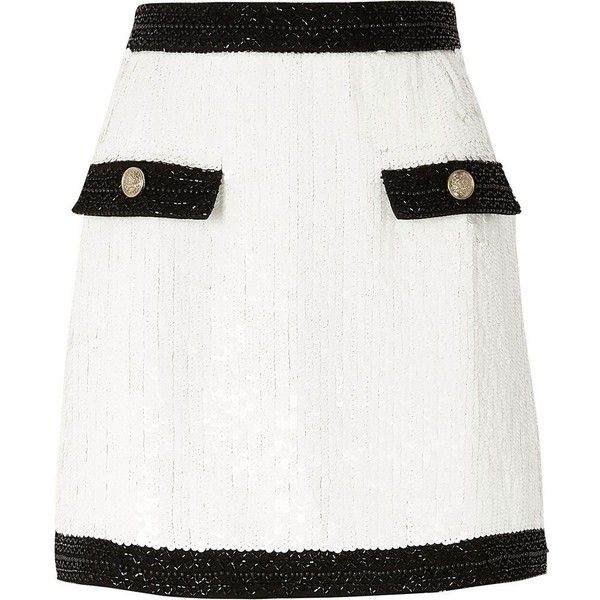 River Island White contrast trim sequin mini skirt (€90) ❤ liked on Polyvore featuring skirts, mini skirts, white, women, sequined mini skirt, sequin skirts, short sequin skirt, short skirts and tall skirts