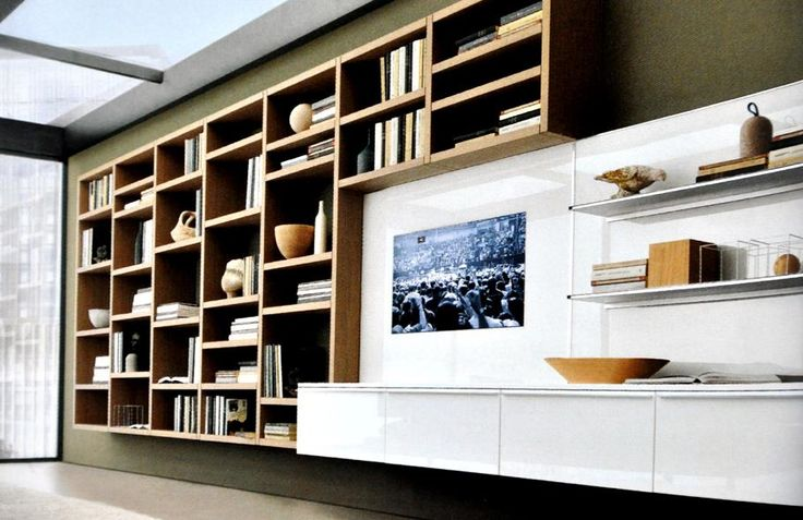 biblioth que moderne en bois et meuble t l laqu blanc lmf5 pinterest d cor contemporain. Black Bedroom Furniture Sets. Home Design Ideas