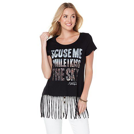 """Lyric Culture """"Kiss The Sky"""" Shirt with Fringe"""